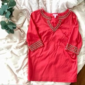 Lilly Pulitzer Red Coral Beaded shirt size 0
